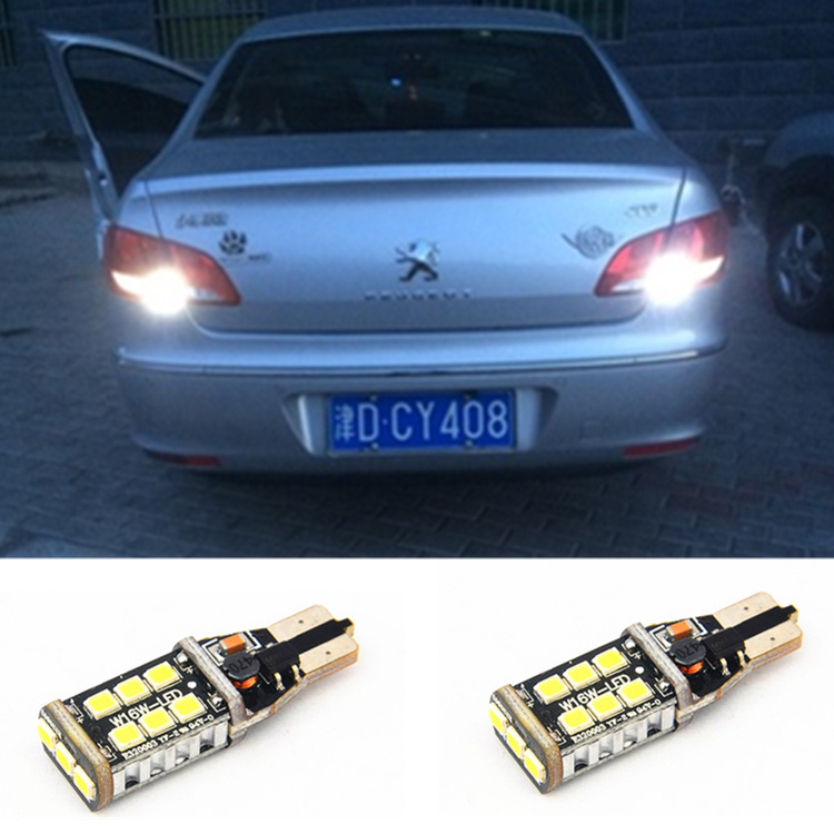 2 x Error Free Super Bright White LED Bulbs For Backup Reverse Light 921 912 T15 W16W For peugeot 408