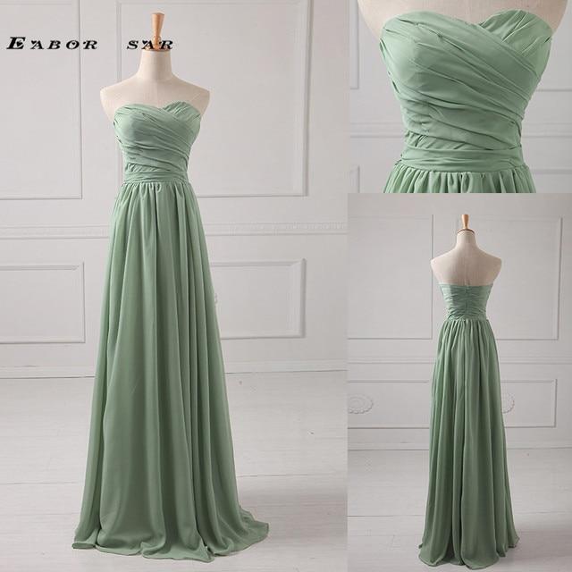 Simple Sweetheart Strapless Floor Length Chiffon Bridesmaid Dress ...