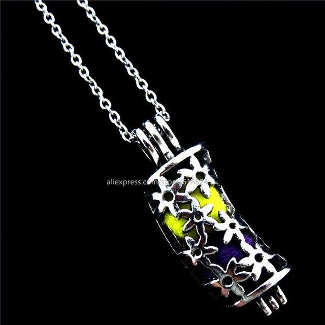 R v212 vintage silver locket necklace flower bend tube beads cage r v212 vintage silver locket necklace flower bend tube beads cage aromatherapy perfume essential oil aloadofball Images