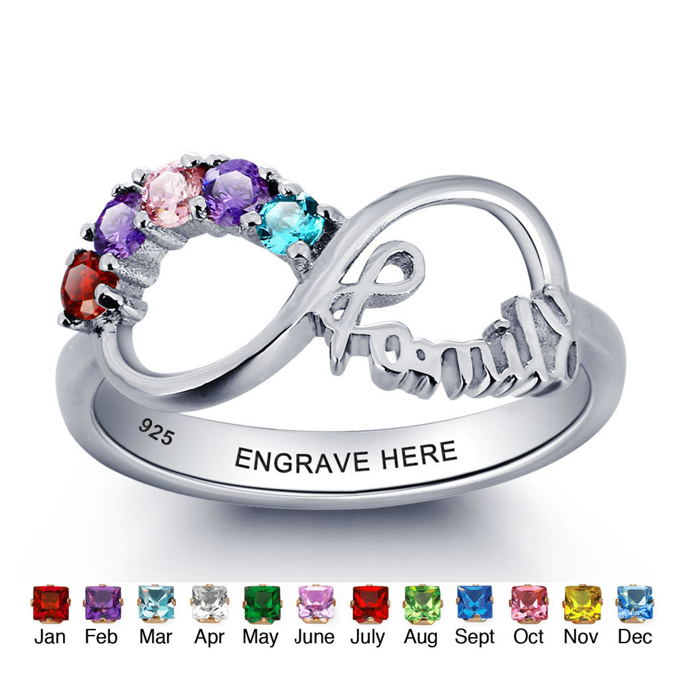 цена на Personalized Engrave Birthstone Infinity Ring 925 Sterling Silver Cubic Zirconia Name Ring Engagement Wedding Gift(RI101787)