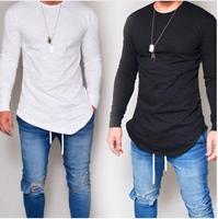 Мужская Новая модная повседневная футболка в простом стиле, лето 2018, Мужская футболка с круглым вырезом и длинными рукавами, однотонная Пов