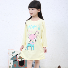 3-11Y New 2018 spring and autumn girls pajamas dress children cartoon girl nightgown clothing girl princess nightdress sleepwear