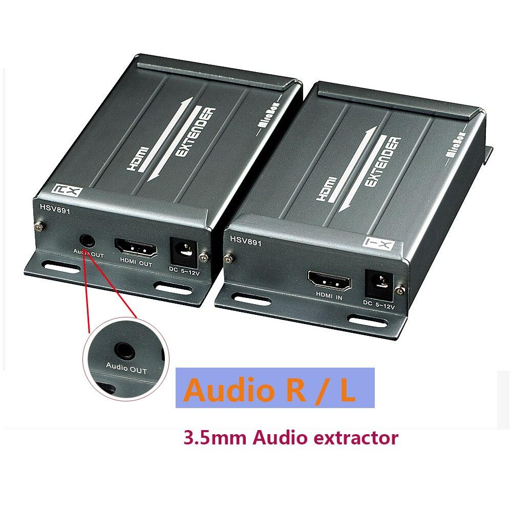 Extension de POE 100 m récepteur d'expéditeur HDMI + extension d'extracteur Audio de prise de 3.5mm sur le réseau local IP TCP par RJ45 Cat5e HDMI Extender TX RX