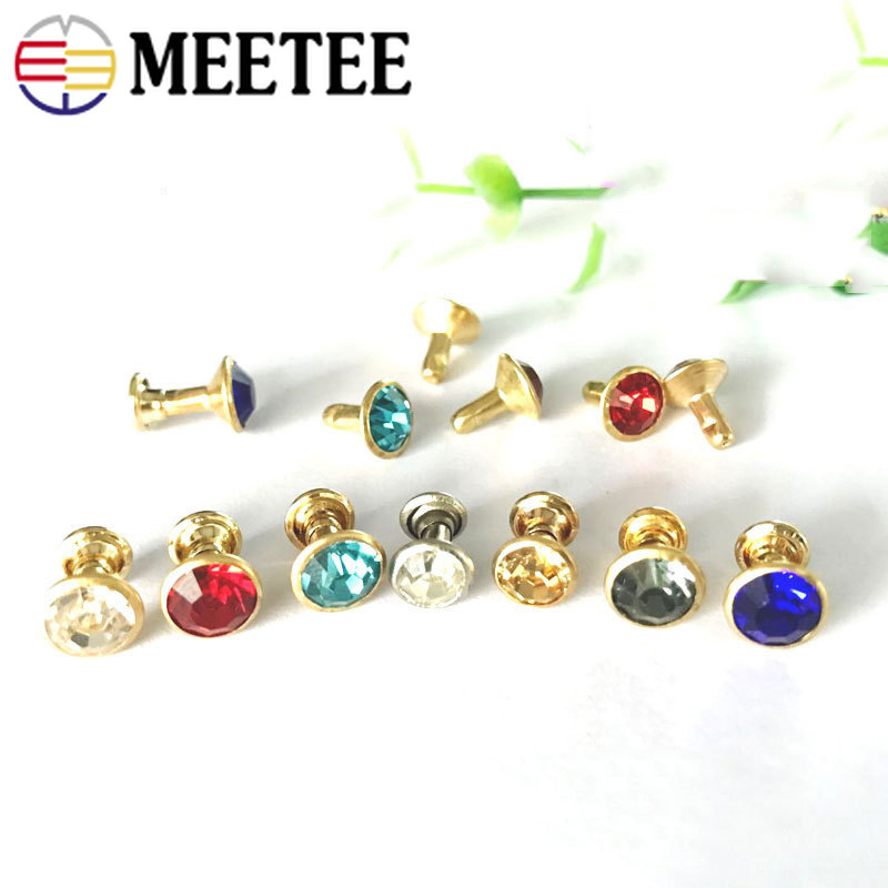 Apparel Sewing & Fabric Meetee 50/100pcs 8mm Glass Crystal Rivet Button Bag Decorbuckles Diy Leather Craft Clothing Accessories Drill Nail Hook Bf052