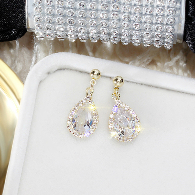 Korea Handmade Silver Needle Anti allergy Water Drop Rhinestone Drop Earrings Dangle Earrings Fashion Jewelry BYD5 in Drop Earrings from Jewelry Accessories