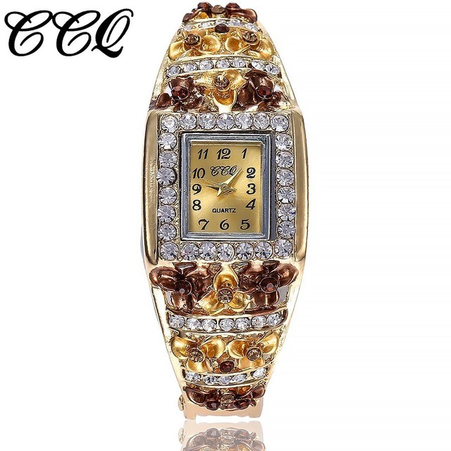 CCQ Brand Women Bracelet Watch Alloy Luxury Flowers Diamond Wrist Watches Female Square Style Quartz Watch Relogio Feminino