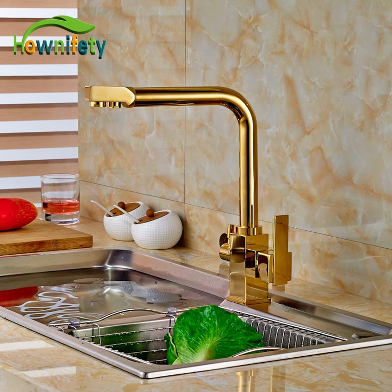Golden Pure Water Kitchen Faucet Hot and Cold Water Faucet Double Handles Mixer Tap Deck Mount golden brass kitchen faucet dual handles vessel sink mixer tap swivel spout w pure water tap