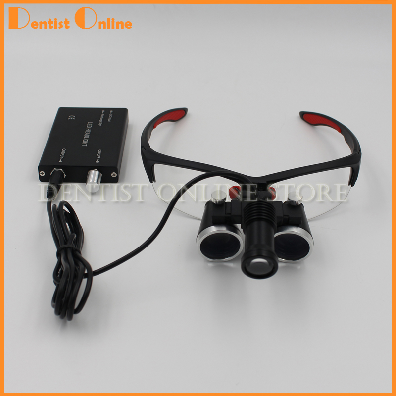 3.5X420mm Dental Surgical Loupe Magnifier Binocular Magnifier with LED Head Light Lamp 3led magnifier for dental surgical and watch repairing and reading magnifier with lighted adjustable helmet head mounted magnify