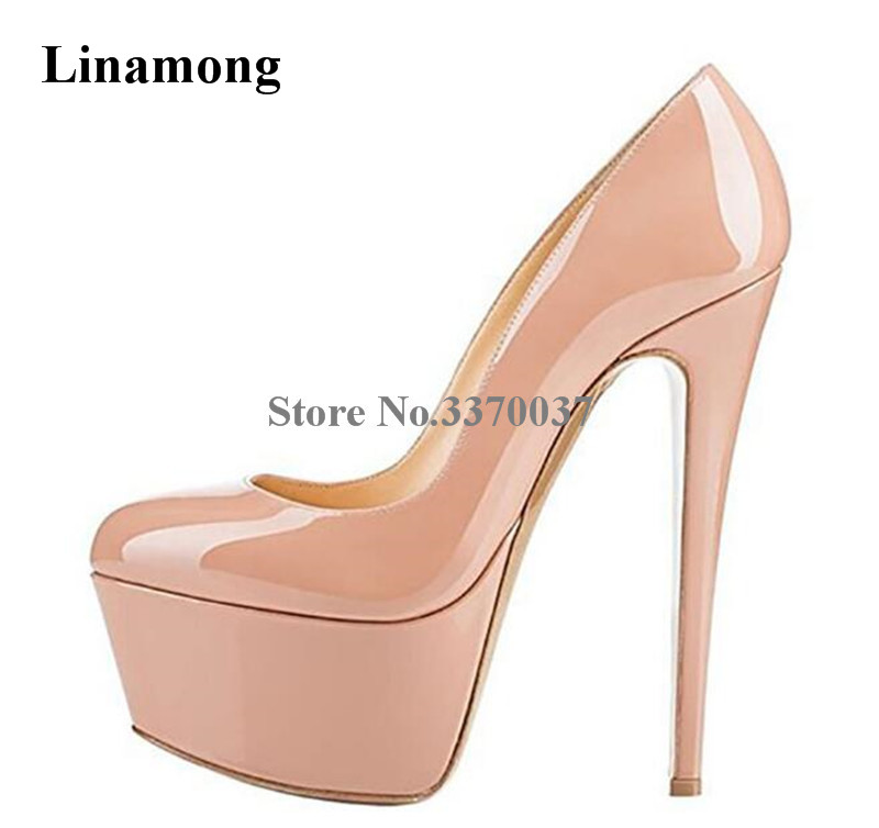 Women Sexy Round Toe High Platform Thin Heel Patent Leather Pumps Nude Black Red Leopard Super High Heels Formal Dress Shoes цена
