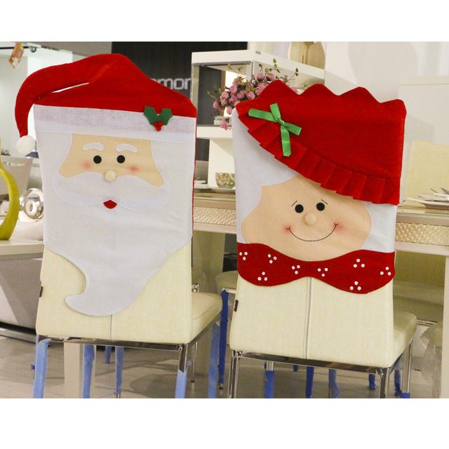 1pc lovely mr & mrs santa claus christmas dining room chair cover
