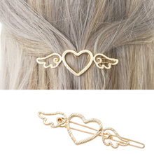 Fashion Women Girls Hairpins Metal Wings Love Heart Hair Clips For Girl Side Barrettes Accessories Cute Ornaments Gift