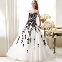 Newest Recommend Robe Elegant And Black Wedding Dress 2018 Appliqued Sweetheart Bridal Gowns Tulle Custom Made