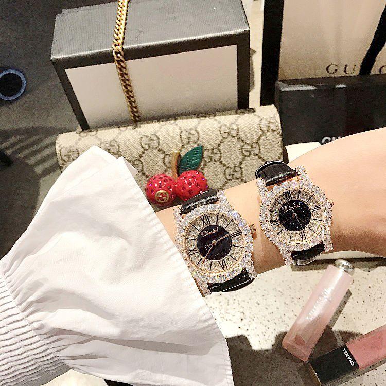 New Fashion Rose Gold Diamond Lady Watch Women New Rhinestone Dress Watches Luxury Leather Strap Women Quartz Watches - 2