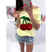 Summer Sexy Off Shoulder Top T-shirt Women T Shirt Sequin Cherry Applique T-shirts Tops Plus Size 5XL Tee Shirt Femme WS9079M