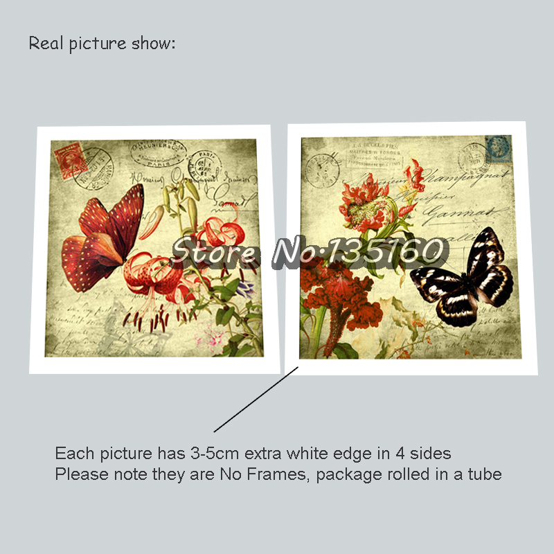 Classical Butterfly Painting Decorative Flower Oil Pictures Stamp ...