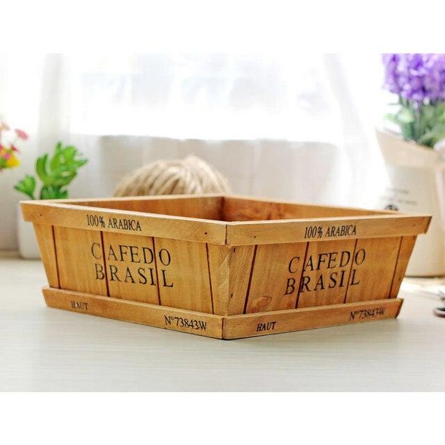 Modern Storage Boxes Wood Storage Holder Flower Pots Holder Storage Box  Wooden Sundries Organizer Storage Fruit