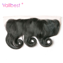 Vallbest Loose Wave Hair With Lace Frontal Closure 100% Human Hair With 4X13 Ear to Ear Natural Black Color Non Remy Hair Weave