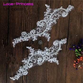 5 pairs 30cm*10cm LP-CG035 DIY lace wedding dress applique accessories bridal headdres white lace collar lace fabric patch image