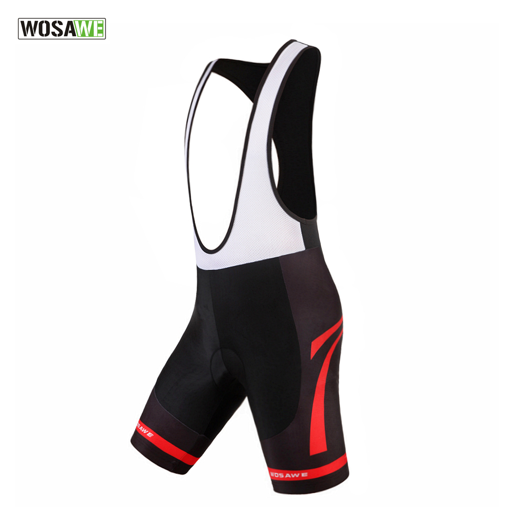 WOSAWE Men's Cycling Vest Shorts Bicycle Bike Bib Shorts 3D Gel Padded Braces Bib Short Pants Cycling Bib Shorts