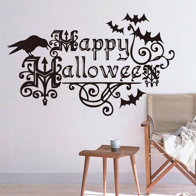 Happy Halloween летучие мыши домашнего декора стены стикеры творческий вечер детская комната стикер окно наклейка P50