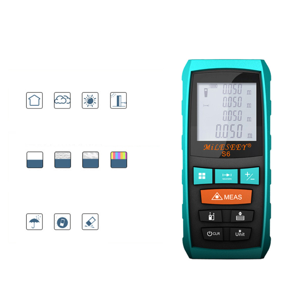 Mileseey Rangefinder S6 40M 60M 80M 100M Laser Distance Meter Blue Digital Range Finder Area/volume laser measuring instrument laser range finder 40m 60m 80m 100m digital laser distance meter tape area volume angle engineer measure construction tools