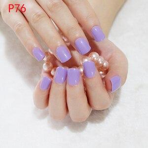 24Pcs Shiny False Nails Tips Light Purple Candy Fake Nails Fingernail Short Size Make Up Salon Products P76S