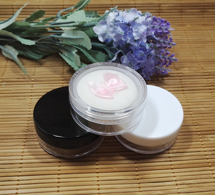 10/20/50/70pcs/lot 5g round empty loose powder case with grid sifter & puff eyeshadow container cosmetic cream jar SubPackage bob cosmetic makeup powder w puff mirror ivory white 02