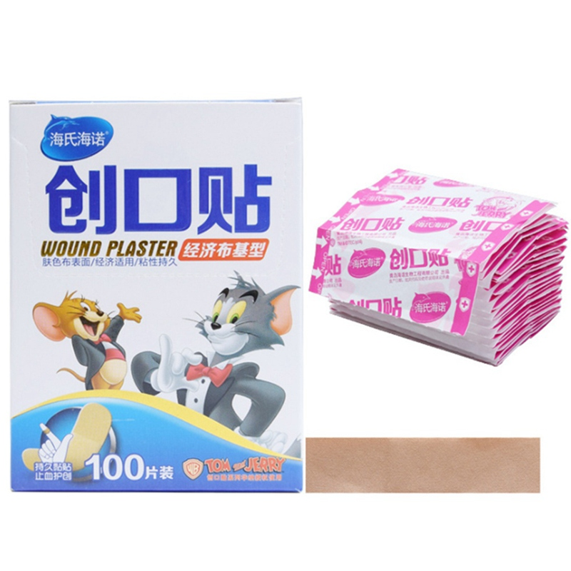 100PCs Waterproof Breathable Band Aid Hemostasis Adhesive Bandages First Aid Emergency Kit