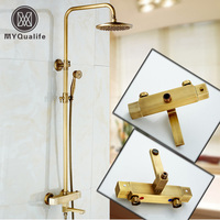 Luxury Thermostatic Mixer Valve Bath Shower Faucet Wall Mounted Dual Handle 8 Rain Shower Mixers Rotate
