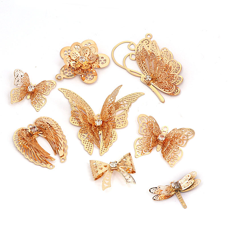 10pcs/lot 3D Champagne Hollow Butterfly Charm Nail Decorations Glitter Alloy Jewelry Rhinestones DIY Nail Art Studs Tools artlalic 1 wheel new 3d nail decorations tools charm perfume bottle flowers triangle rhinestones diy nail art jewelry promotion