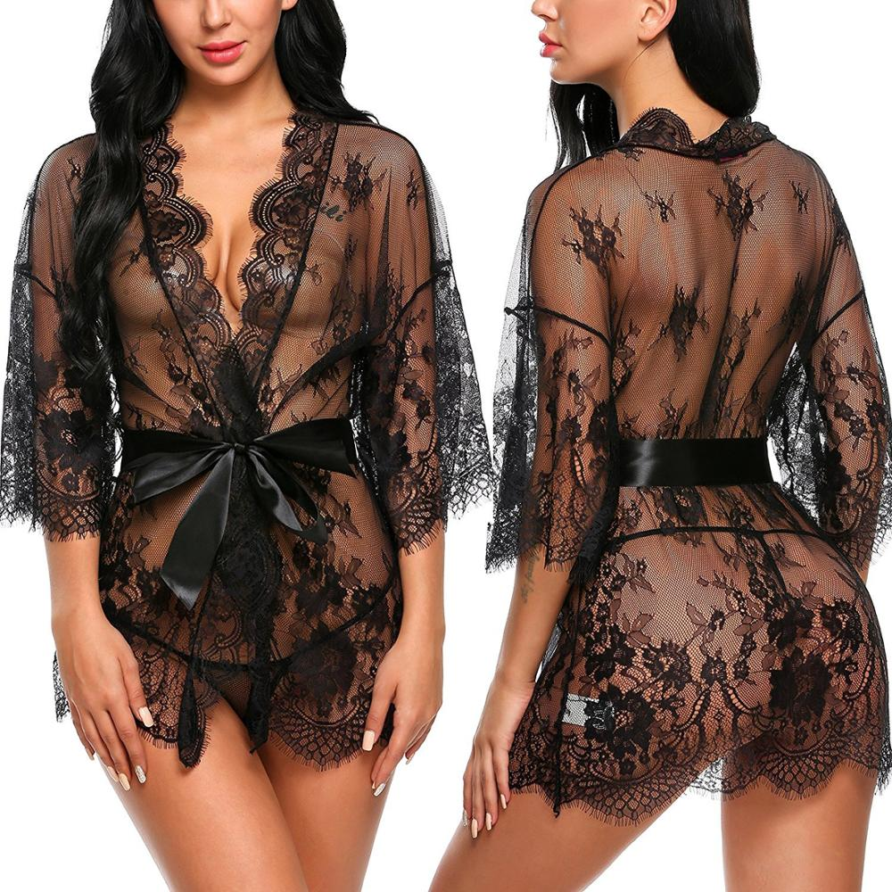 Sexy Women Lingerie Lace Night Dress Sleepwear Nightgown Bandage Deep V G-String See Through Sexy Sheer Sleep Dress 2019 Silky