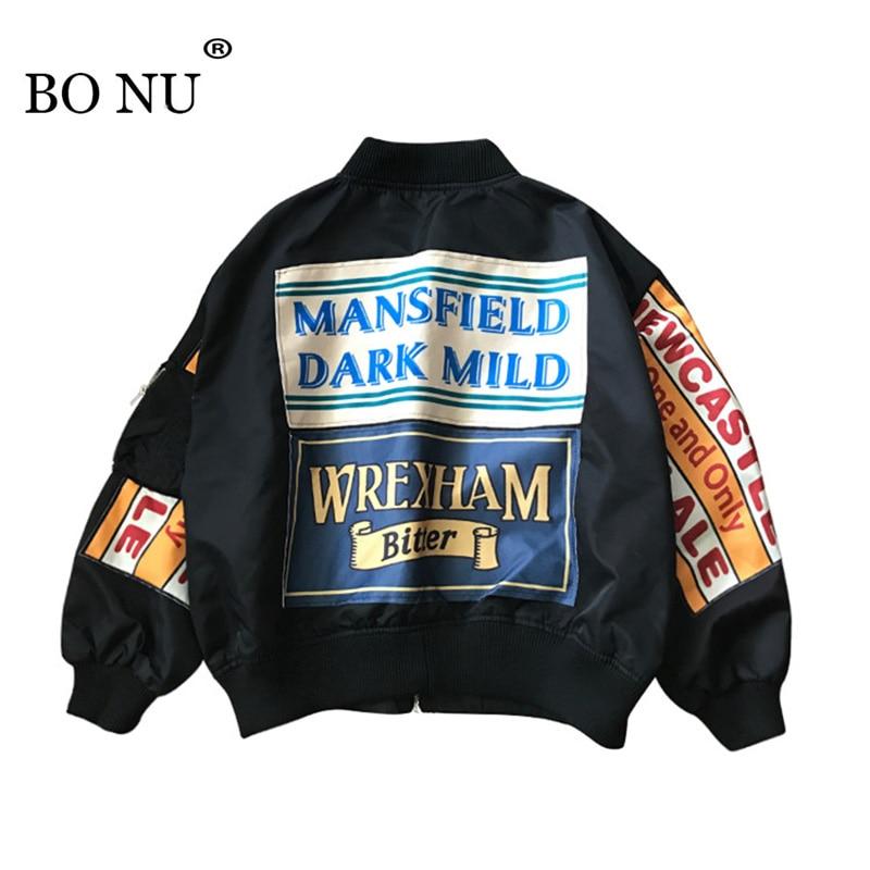BONU Women College Harajuku Bomber Jacket Plus Size Loosen Print Splicing Feminino Jacket Women Oversize Basic Coat Jacket