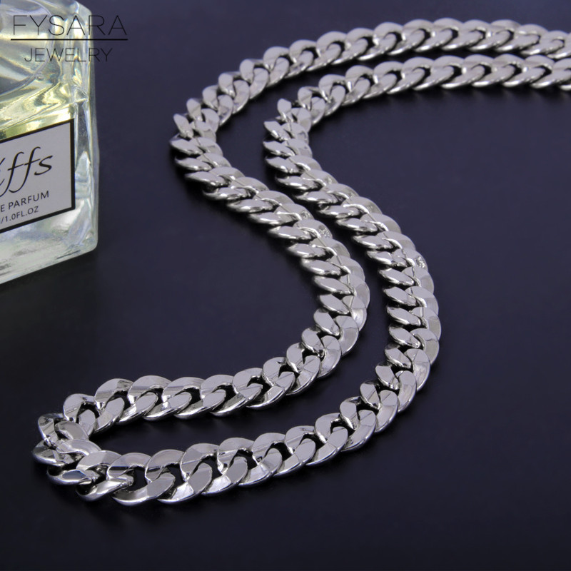 FYSARA Silver Color Figaro Necklace Cuban Curb Flat Link Chain Long Necklace Men Jewelry Rock Chunky Necklace Heavy Collars