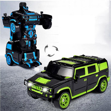 1:18 One-Button Deformation Car Robot Four-Way Remote Control Off-Road Vehicle Charging Remote Control Car Children's Toys stunt remote control motorcycle deformation vehicle space vehicle drift light pack charging concept car 2 4g flip rc11 8