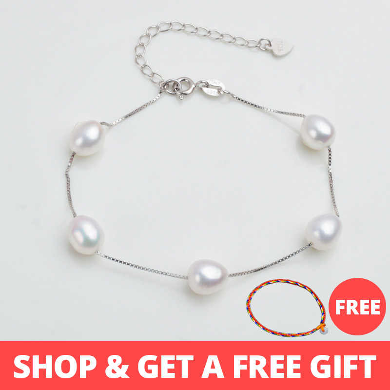 ASHIQI 925 Sterling Silver Natural Freshwater Pearl