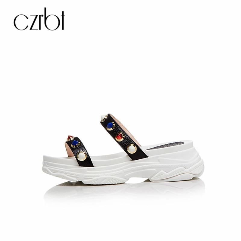 CZRBT Genuine Leather Slippers Women Summer Sandals Open Toe Platform Shoes Outdoor Slides Metal Decoration Ladies Flat Shoes