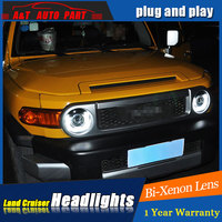 2007 2014 car Styling LED Head Lamp for Toyota Fj Crusier led headlights drl H7 hid Bi Xenon Lens angel eye low beam