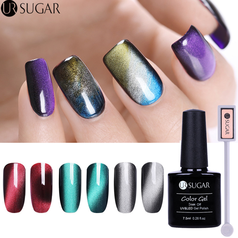 3pcs 3d Cat Eye Gel Magic Box Magnetic Nail Gel Polish Soak Off Led Uv Gel Polish With Magnet Stick Luxuriant Jade Effect Diy Nails Art & Tools