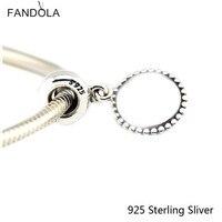 925 Sterling-Srebrny-Biżuteria DIY Koraliki Koło Naszyjnik Wisiorek Srebrny Koralik Charms dla Tworzenia Biżuterii