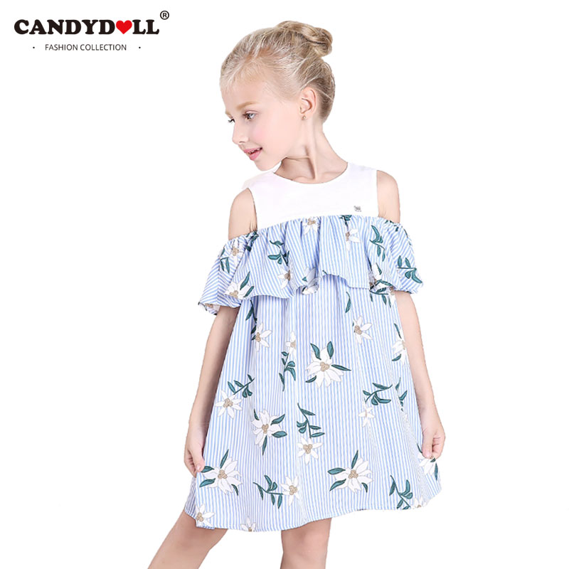 CANDYDOLL Blue Striped Ruffle Cold Shoulder Dress Baby Girls Princess Dress for Party Kids Off Shoulder Dresses Size 4 to 10 ruffle layer off the shoulder striped jumpsuit