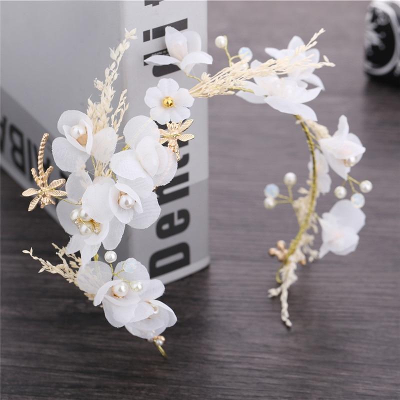 White Wedding Hair Jewelry 2019 Bridal Headwear Handmade Flower Pearl Wedding Accessories Hairpiece