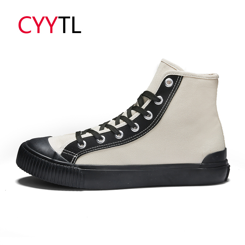 CYYTL 2019 Classic Men's Vulcanized Shoes High top Canvas Walking Sneakers Lace up Casual Male Tenis Masculino Zapatos De Hombre