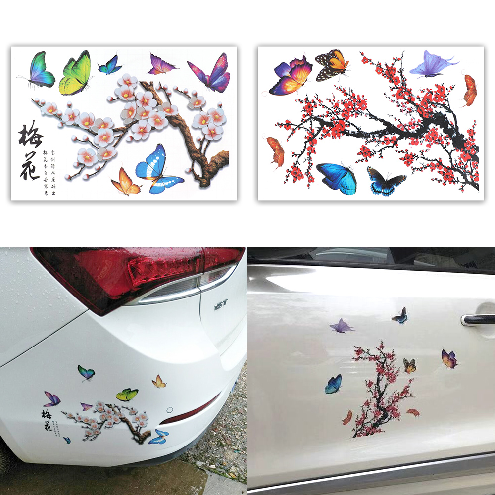 Scratch Cover Butterfly Plum Sticker Motorcycle Car Decal Funny Auto Decals Car-Styling Sticker 3D Simulation Car Stickers
