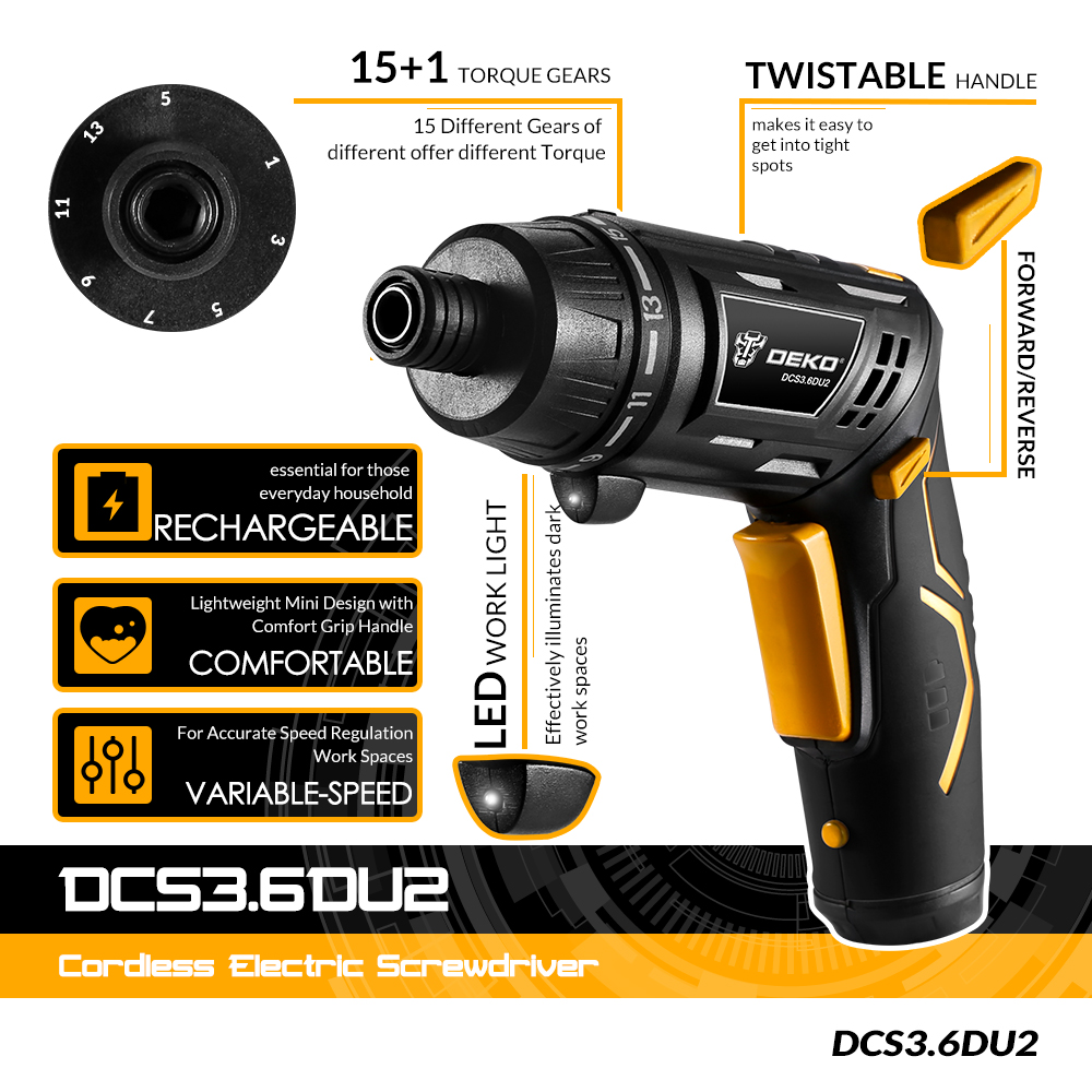 Image 2 - DEKO DCS3.6DU2 S1 Cordless Electric Screwdriver Rechargeable Power Screwdriver Household DIY Twistable Handle Wireless LEDTorch-in Electric Screwdrivers from Tools on