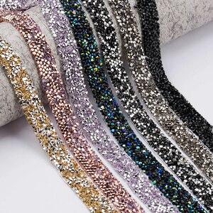 Image 3 - QIAO 1yard/rulo 1.5cm moda taklidi bant Trim reçine kristal dekorasyon için kırpma DIY ayakkabı bantlama konfeksiyon şapka parlak