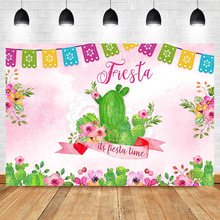 NeoBack Mexican Fiesta Birthday Backdrop Cactus Flower Pink Photography Backdrops Baby Shower Banner Decor Supplies Background