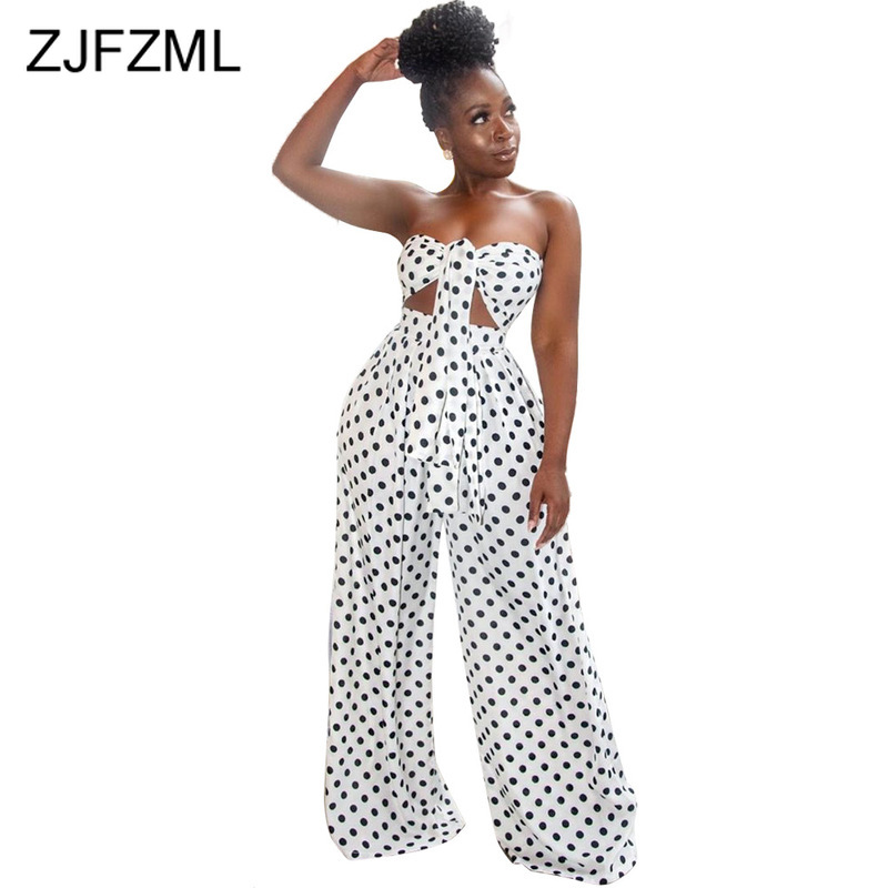 Black White Polka Dot 2 Piece Sweat Suits Women Clothes Bow Tie Off Shoulder Crop Top And  Wide Leg Pants Two Pcs Set Tracksuit