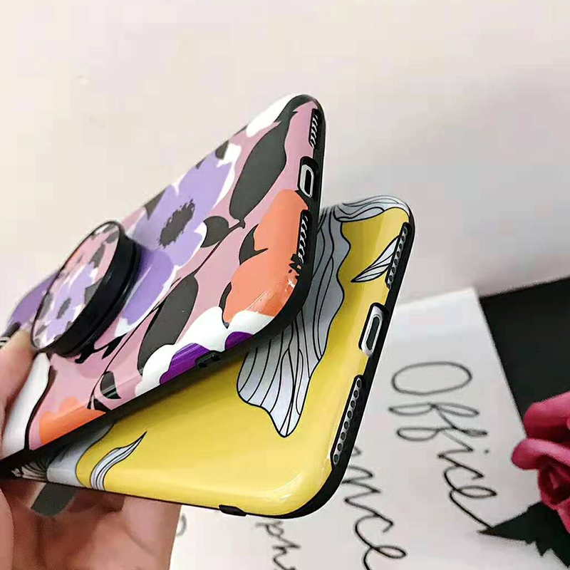 Bracket Case For iPhone XS Max XR X 8 7 6 6S 7 8 Plus Yellow Flowers Glossy Soft IMD Fashion Phone Back Cover Cases Coque Gift (8)