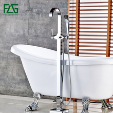New Arrival Bathroom chrome finishing Floor Stand Faucet Round Type Bath Shower Mixer Brass set Contemporary Bathtub Tap