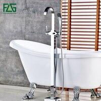 FLG Bathroom chrome finishing Floor Stand Faucet Round Type Bath Shower Mixer Brass Shower set Contemporary Bathtub Tap